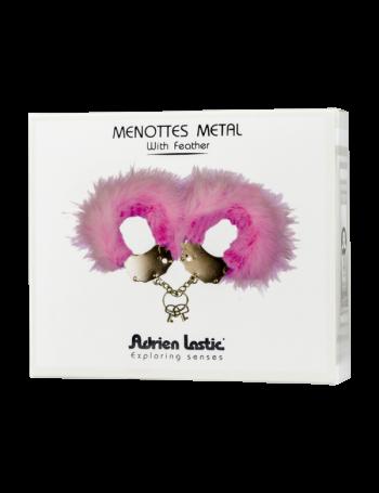 ADRIEN LASTIC MENOTTES METAL CON PLUMAS ROSA