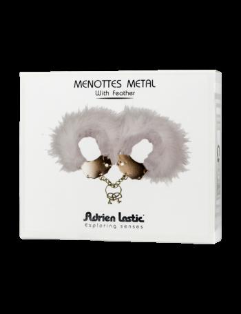 ADRIEN LASTIC MENOTTES METAL CON PLUMAS BLANCA