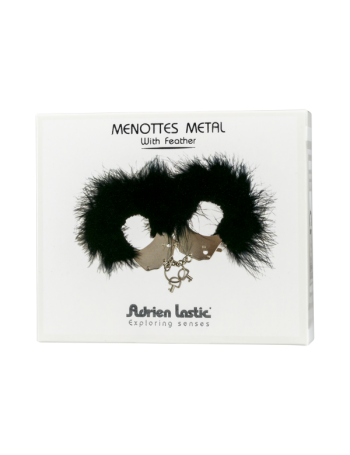 ADRIEN LASTIC MENOTTES METAL CON PLUMAS NEGRA