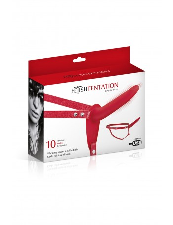 FETISH TENTATION SIMPLE STRAP-ON VIBRA. RED