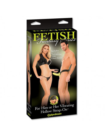 """6"""" VIBRATING HOLLOW STRAP ON GLOW"""