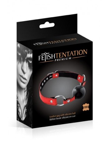 FETISH TENTATION RED LEATHER GAG WITH SILICONE BALL